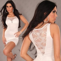 SEXY MINIDRESS WITH LACE WET LOOK WHITE UK 8/10 (S/M)