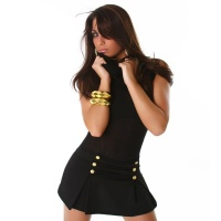 SEXY MINIDRESS WITH DECORATIVE BUTTONS BLACK