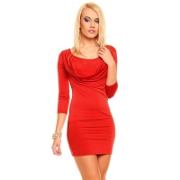 SEXY MINI DRESS WITH COWL-NECK RED Onesize (UK 8,10,12)