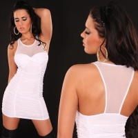 SEXY MINIDRESS WITH CHIFFON WHITE