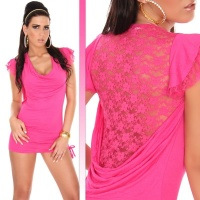 SEXY MINIDRESS WITH PRECIOUS LACE FUCHSIA
