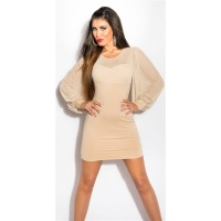 SEXY MINIDRESS WITH BATWING SLEEVES AND CHIFFON BEIGE