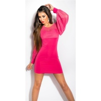 SEXY MINIDRESS WITH BATWING SLEEVES AND CHIFFON FUCHSIA