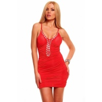 SEXY MINIDRESS WITH RHINESTONES GOGO CLUBWEAR RED UK 8 (S)