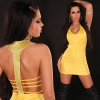 SEXY MINIDRESS WITH RHINESTONES WET LOOK CLUBWEAR YELLOW UK 10/12