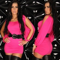 SEXY MINIDRESS WITH BELT GOGO CLUBWEAR FUCHSIA Onesize (UK 8,10,12)