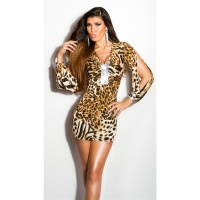 SEXY GLAMOUR MINIDRESS WITH OPEN SLEEVES LEOPARD
