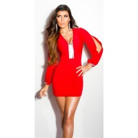 SEXY GLAMOUR MINIDRESS WITH OPEN SLEEVES RED