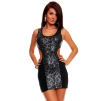 SEXY MINIDRESS WITH PREDATOR PATTERN GOGO CLUBWEAR BLACK/GREY UK 10/12 (M/L)