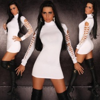 SEXY MINIDRESS WITH RIFTS GOGO CLUBWEAR WHITE