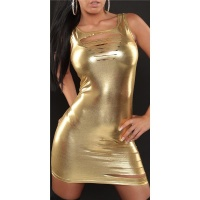 SEXY MINIDRESS WITH RIFTS GOGO CLUBWEAR WET LOOK GOLD