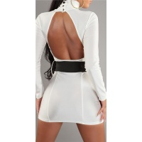 SEXY MINIDRESS WITH BELT WHITE UK 10/12