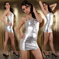 SEXY MINIDRESS WITH SEDUCTIVE LACING SILVER WET LOOK GOGO CLUB