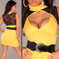 SEXY MINIDRESS WITH LACE BELT YELLOW/BLACK