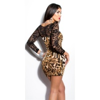 SEXY MINIDRESS WITH LACE LEOPARD-LOOK BROWN/BLACK UK 10