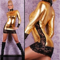 SEXY MINIDRESS WITH LACE WET LOOK GOGO CLUBWEAR GOLD/BLACK UK 8/10