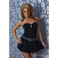 SEXY MINIDRESS WITH RHINESTONE BROOCH BELT REDIAL BLACK UK 10 (M)