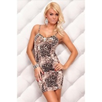 SEXY STRAP MINIDRESS WITH RHINESTONE-BROOCH BEIGE/BROWN