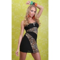 SEXY MINIDRESS WITH RHINESTONES LEOPARD-LOOK BLACK/BROWN