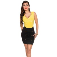 SEXY SLEEVELESS MINIDRESS WITH COWL-NECK YELLOW/BLACK