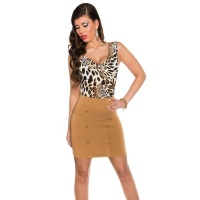 SEXY SLEEVELESS MINIDRESS WITH COWL-NECK LEOPARD/BROWN