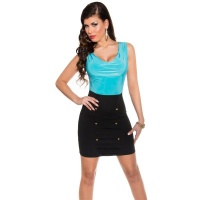 SEXY SLEEVELESS MINIDRESS WITH COWL-NECK TURQUOISE/BLACK