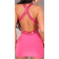 SEXY MINIDRESS PARTY DRESS WITH SEQUINS CLUBWEAR FUCHSIA