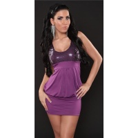 SEXY MINI DRESS PARTY DRESS WITH SEQUINS PURPLE UK 10/12