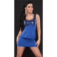 SEXY MINIDRESS PARTY DRESS WITH SEQUINS ROYAL BLUE UK 10/12