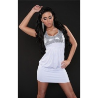 SEXY MINIDRESS PARTY DRESS WITH SEQUINS WHITE UK 10/12
