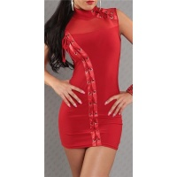 SEXY MINIDRESS PARTY DRESS WITH LACING RED
