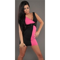 SEXY MINIDRESS PARTY DRESS WITH LACE RHINESTONES BLACK/FUCHSIA