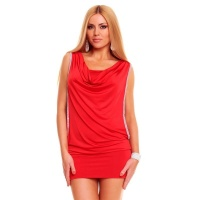 SEXY MINI DRESS PARTY DRESS RHINESTONE-LOOK RED