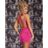 SEXY MINIDRESS CLUBWEAR BACKLESS RHINESTONE-LOOK FUCHSIA