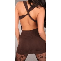 SEXY MINIDRESS CLUBWEAR BACKLESS BROWN