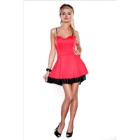 SEXY MINIDRESS STRAP DRESS WITH FLOUNCE IN WET LOOK RED/BLACK
