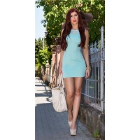 SEXY MINIDRESS STRAP DRESS IN 2-IN-1-LOOK WITH CHIFFON MINT GREEN