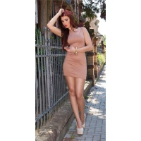 SEXY MINIDRESS STRAP DRESS IN 2-IN-1-LOOK WITH CHIFFON NUDE