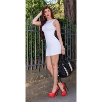 SEXY MINIDRESS STRAP DRESS IN 2-IN-1-LOOK WITH CHIFFON WHITE