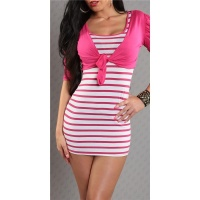 SEXY STRAP DRESS MINIDRESS WITH BOLERO FUCHSIA/WHITE