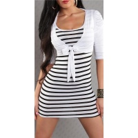 SEXY STRAP DRESS MINIDRESS WITH BOLERO WHITE/BLACK