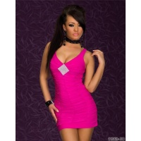 SEXY STRAP DRESS MINIDRESS RHINESTONE-LOOK FUCHSIA