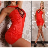SEXY MINIDRESS WET LOOK WITH RHINESTONES CLUBWEAR RED
