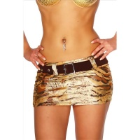 SEXY MINI SKIRT CLUBBING WITH BELT GOLD/BROWN UK 8 (S)
