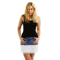 SEXY MINISKIRT IN JEANS LOOK WITH LACE FRILLS DARK BLUE/WHITE UK 10 (S)