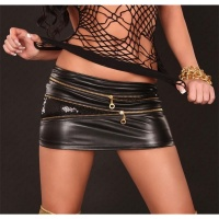 SEXY MINISKIRT IN LEATHER-LOOK GOGO CLUBWEAR BLACK UK 10 (S)
