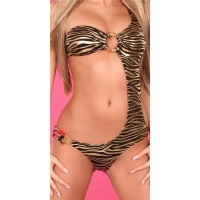 SEXY MONOKINI BEACHWEAR ZEBRA-LOOK BLACK/GOLD