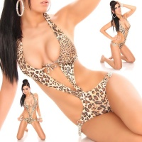 SEXY MONOKINI BIKINI BEACHWEAR WITH CHAINS LEOPARD UK 10 (M)