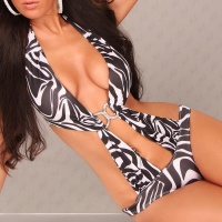 SEXY MONOKINI BIKINI BEACHWEAR ZEBRA-LOOK BLACK/WHITE UK 8 (S)