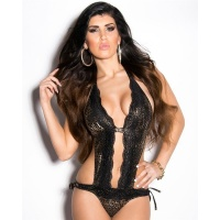SEXY HALTERNECK MONOKINI TO TIE WITH LACE BEACHWEAR LEOPARD